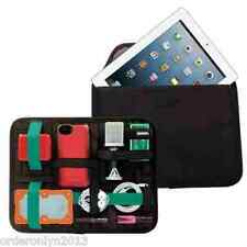 Portable Compact Handy Elastic Grid Gadget Organizer w/ Tablet Pouch Pocket Case
