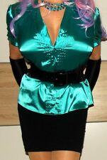 Liquid Satin Ultra Femme Glossy Green Mistress Secretary Blouse~Sz 14