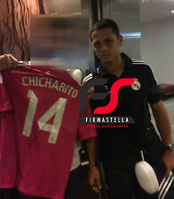CHICHARITO SIGNED REAL MADRID FOOTBALL SHIRT+PHOTO PROOF*SEE HIM SIGN SHIRT*