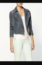 Free People Women's Punched Herringbone Denim Jean Moto Jacket Blazer Size 2