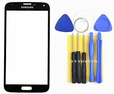 Black Outer Screen Glass Digitizer Lens Samsung Galaxy S5 i9600 Adhesive + Tool