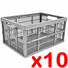 10 x 32L Plastic Folding Storage Container Basket Crate Box Foldable SILVER