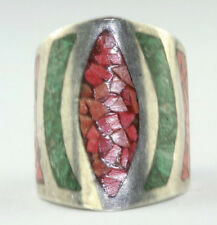 VTG HEAVY MEXICAN STERLING SILVER CRUSHED CORAL TURQUOISE TALL RING SIZE 5.75 6
