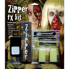 Halloween Zipper Face Scary Kit Zip Bloody Fake Scab Special FX Makeup FancyDres