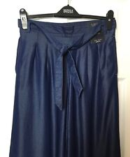 M&S Marks Women Denim Blue Soft Wide Leg Palazzo Trousers Party BNWT S10 Reg