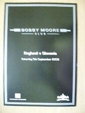 2009 BOBBY MOORE Club MENU - ENGLAND v SLOVENA, 5 Sept (Org,Exc*)