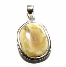 Unique Genuine Baltic Amber 925 Sterling Silver Pendant Butter 6.8g