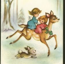TINY ANGELS RIDE DELICATE,SWEET FACE DEER,CHRISTMAS COLLECTIBLE GREETING CARD