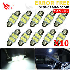10 X 31mm 5630 6-SMD White Canbus Error Free Festoon LED Car Backup Light Bulbs