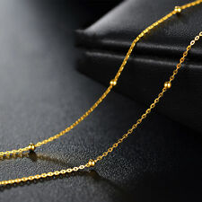 Solid 16INCH 18K Yellow Gold Necklace Bead with O Link Chain / Stamp: Au750