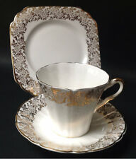 Imperial China English Vintage Teacup Saucer Tea plate Trio White Gold high tea