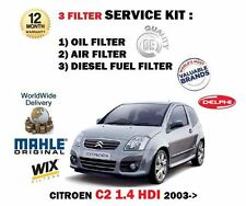 FOR CITROEN C2 1.4 HDi 10/2003--   SERVICE KIT OIL AIR FUEL 3 FILTER KIT