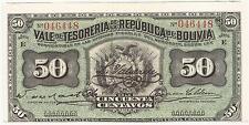 Bolivia 50 Centavos Tresure Of Bolivia P-91 29.11.1902 Unc