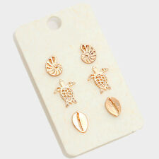 Tiny Stud Earrings Cowrie Shell Turtle SET OF 3 Metal Solid GOLD Mini Posts