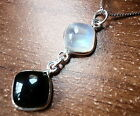 Black Onyx and Rainbow Moonstone Necklace with Soft Corners 925 Sterling Silver