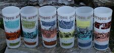 Vtg 6Pc Frosted Antique Automobile Auto Cars Drinking Glasses