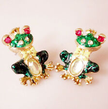 E229 Betsey Johnson Green Tree The Frog Prince Iron Henry Frog Earrings US