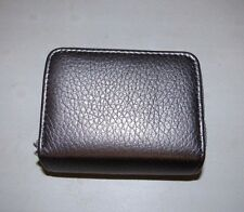 BUXTON WOMEN'S PEWTER SILVER FAUX LEATHER EXPANDING ORGANIZER WIZARD WALLET