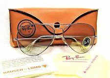 RAY-BAN *NOS VINTAGE B&L AVIATOR 10k *LIC WhiteGold Blue *Changeables SUNGLASSES