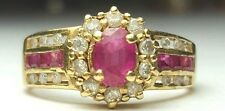 Natural Red Ruby Diamond Cluster Engagement Ring 14k yellow gold vintage