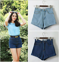 Ladies Denim Short Pants Womens High Waisted Shorts Hot Pants Size 6 8 10 12 14