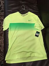 New Men's Nike Roger Federer V-Neck Tennis Shirt Volt Color Size XL
