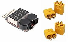 Alarm Voltage Checker Tester Monitor + Warning Buzzer +2 Pair XT60 Connectors