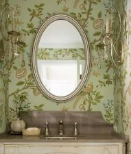 Gorgeous SILVER Leaf OVAL Vanity Wall Mirror Bathroom Mantel Champagne HORCHOW