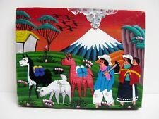 Latin American Folk Art Painting on Leather Peruvian Llamas Volcano Miniature