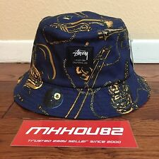 New Stussy Brass Bucket Hat Crusher 8 Ball Navy cap SS World Tour Size S / M