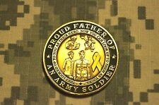 Challenge Coin US Army Proud Father of a Soldier Army Seal has Damage Deep Cuts