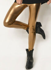 Supre Size XS/8 Leather Look Full Length Tights - GOLD - DANCE - BNWT