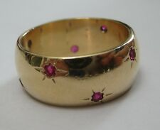 14k solid yellow gold thick band 9mm ring with flower shaped rubies 9.8 grams!!!