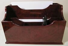 Burl Wood Pattern Mahogany Colored Desk Stationary Pen Pencil Organizer