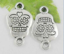 20pcs 11x20mm silver smile skull face Jewelry Finding Charm Connector/pendant