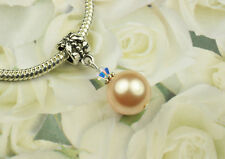 Peach Crystal Pearl Dangle Charm Bead European Style w Swarovski Elements