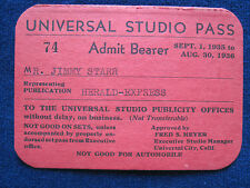 ORIGINAL 1935 - 1936 UNIVERSAL STUDIO PASS for Hollywood Columnist JIMMY STARR