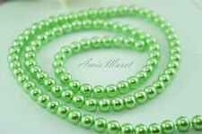 100PCS 8mm Glass Pearl Spacer Grass Green Color Round DIY Imitation Pearl beads