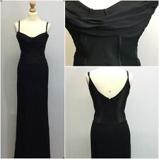 Max Mara Ladies Black Sheer Corset Cowl Neck Sequin Fishtail Maxi Dress Size 12