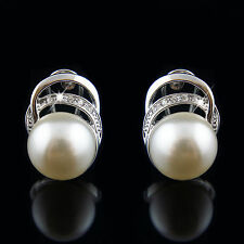 18k white Gold GF pearls Swarovski crystals elements earrings