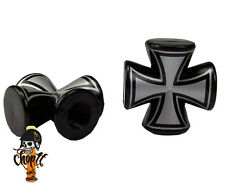 Ventilkappen Iron Cross rund schwarz Chopper Bobber Hot Rod