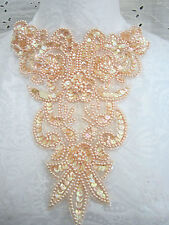 "9"" FANCY Bead & Sequin Applique - PEACH SOFT SALMON"