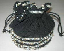 Vintage Crochet Black Handbag - Purse - Beading & Silver Trim