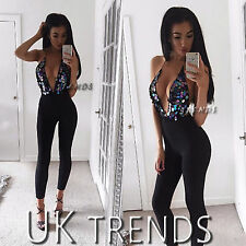 UK Womens Sequin Plunge Halterneck Bodycon Ladies Trousers Party Jumpsuits