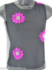 Joseph A. fine knit sweater top cami slinky shell Paris pink floral SZ S NEW $58