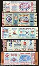 5 1969 - 1977  BASEBALL ALL-STAR GAME VINTAGE UNUSED FULL TICKETS PLUS A BONUS