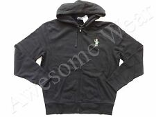 New Ralph Lauren Polo Black Teddy Bear Fleece Zip Up Cotton Hoodie Jacket sz L