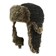 Winter Men's Warm Knit Lined Faux Fur Trooper Trapper Pilot Ski Hat Cap Charcoal