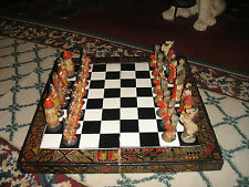 Vintage Crusades Chess Set-Christians & Muslims-Wood Board-Chalkware Pottery