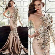 Luxury Beads Long Formal Evening Dress Celebrity Pageant Wedding Party Prom Gown